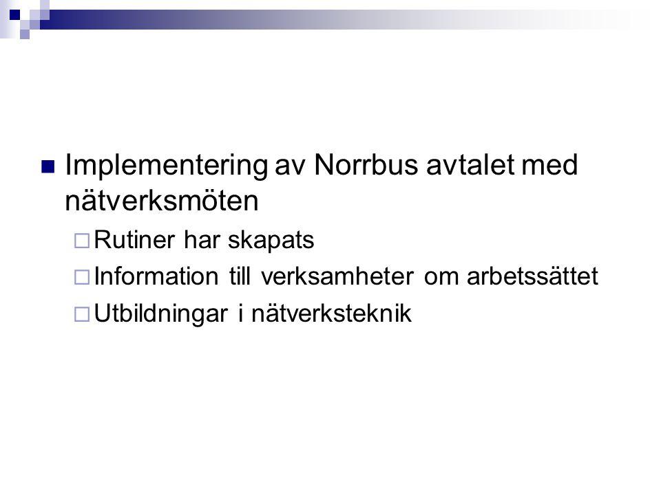 Implementering av Norrbus avtalet med nätverksmöten