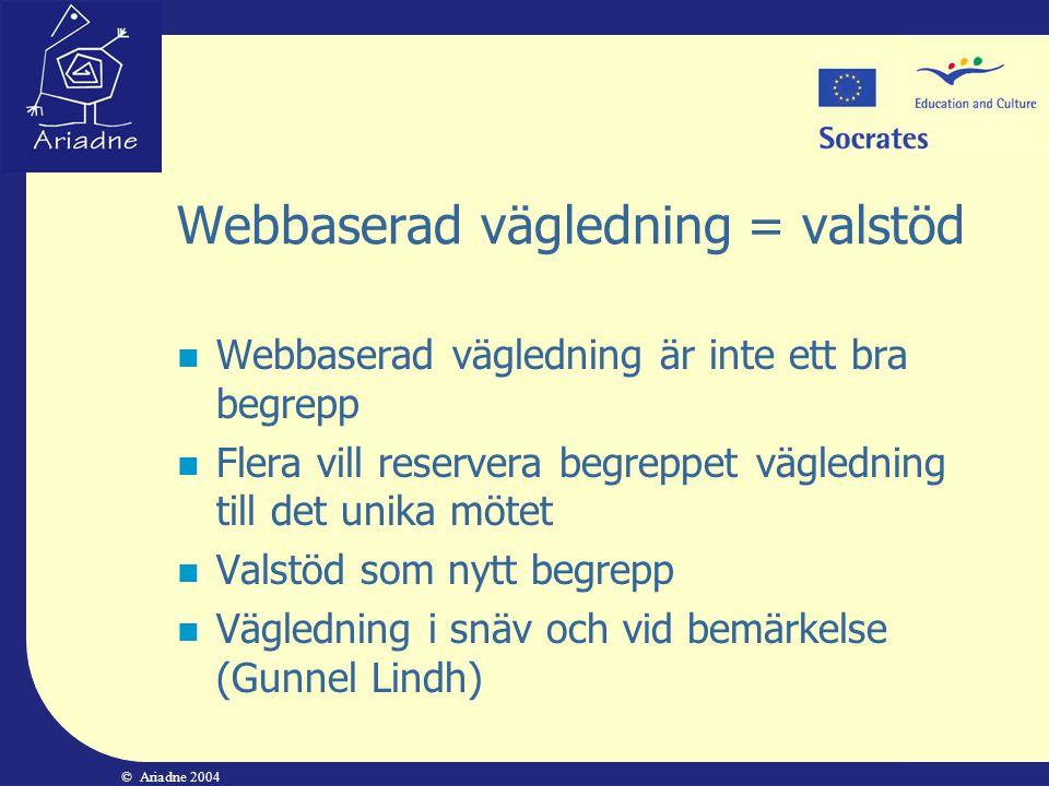 Webbaserad vägledning = valstöd