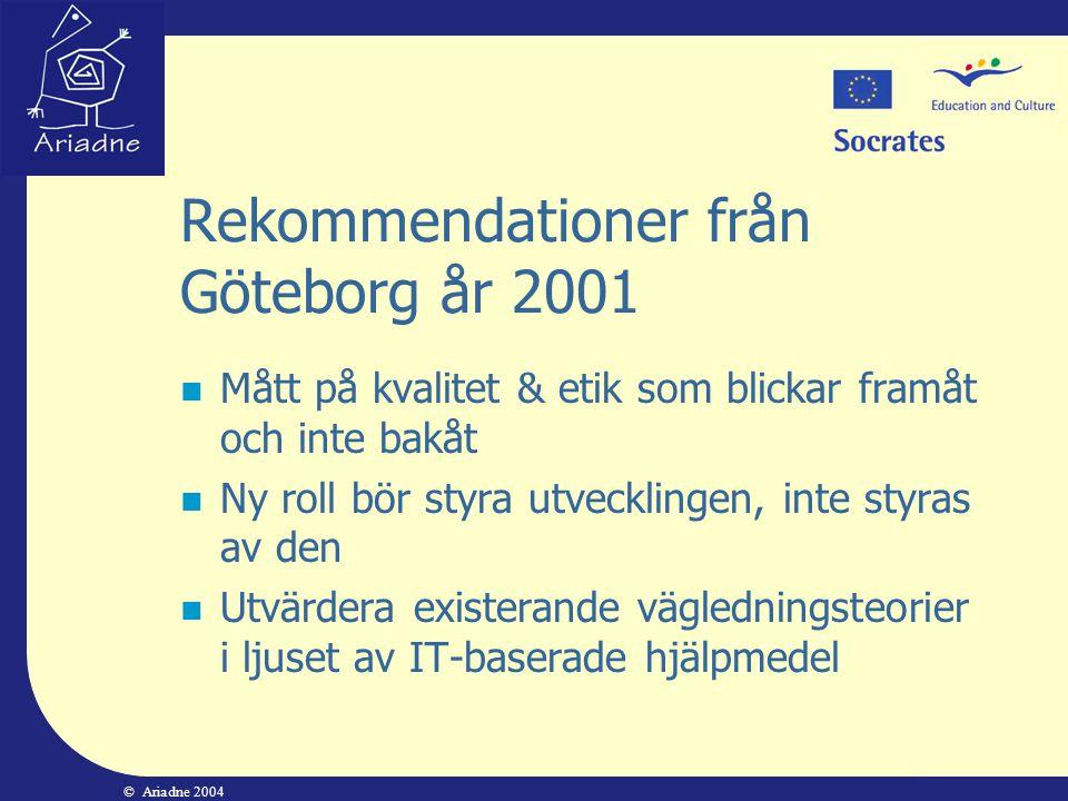 Rekommendationer från Göteborg år 2001