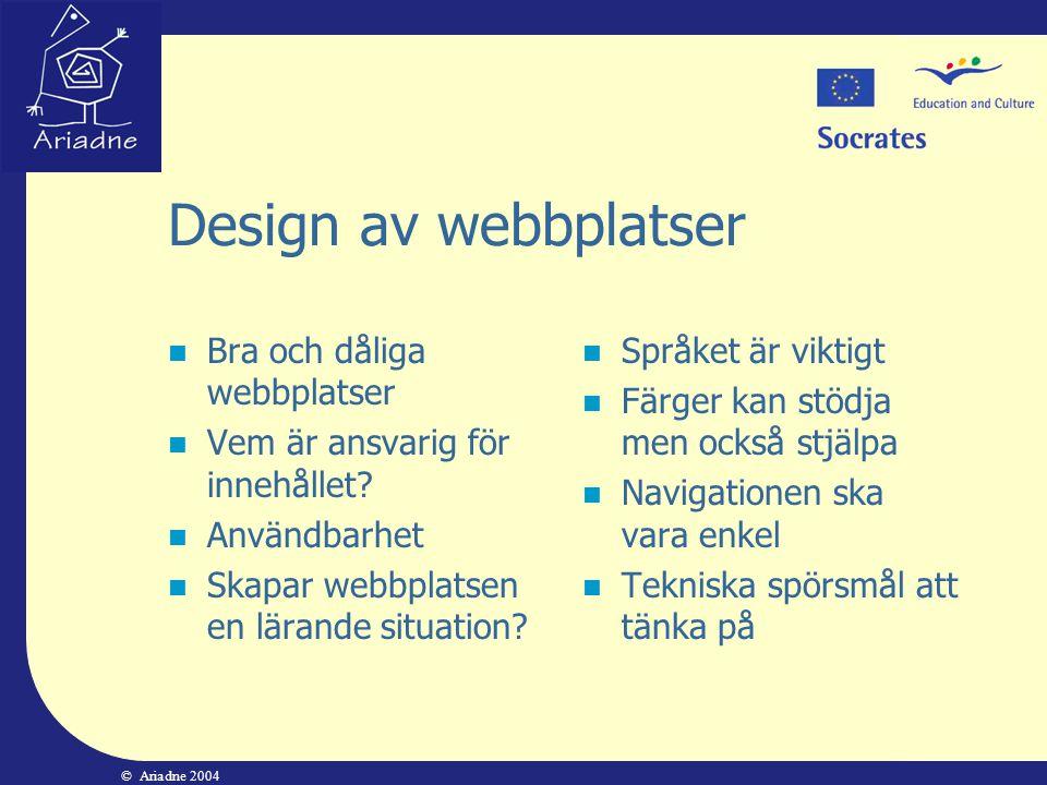 Design av webbplatser Bra och dåliga webbplatser