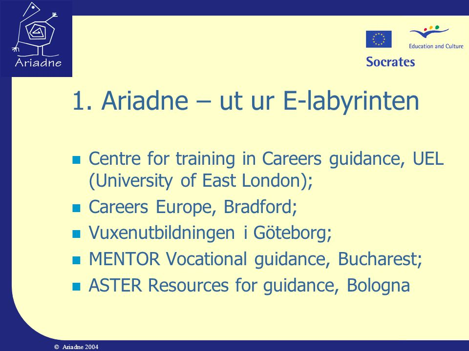 1. Ariadne – ut ur E-labyrinten