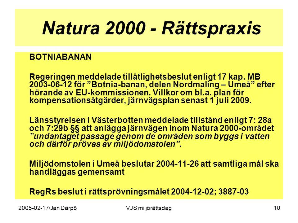 Natura 2000 - Rättspraxis BOTNIABANAN