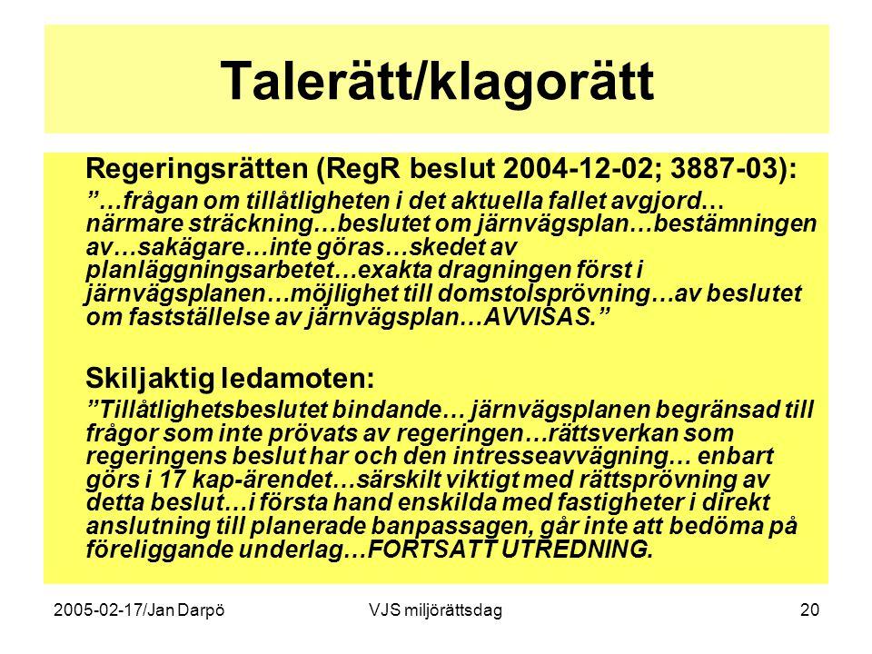 Talerätt/klagorätt Regeringsrätten (RegR beslut 2004-12-02; 3887-03):