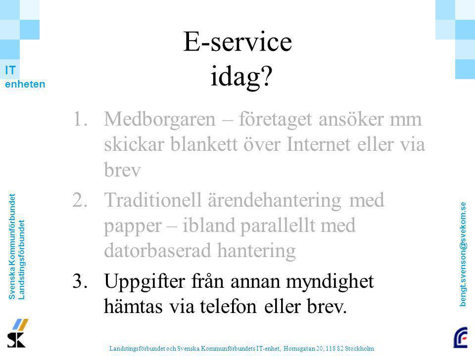 E-service idag Medborgaren – företaget ansöker mm skickar blankett över Internet eller via brev.