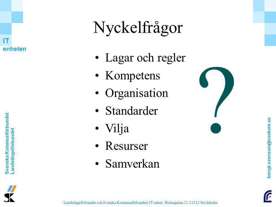 Nyckelfrågor Lagar och regler Kompetens Organisation Standarder