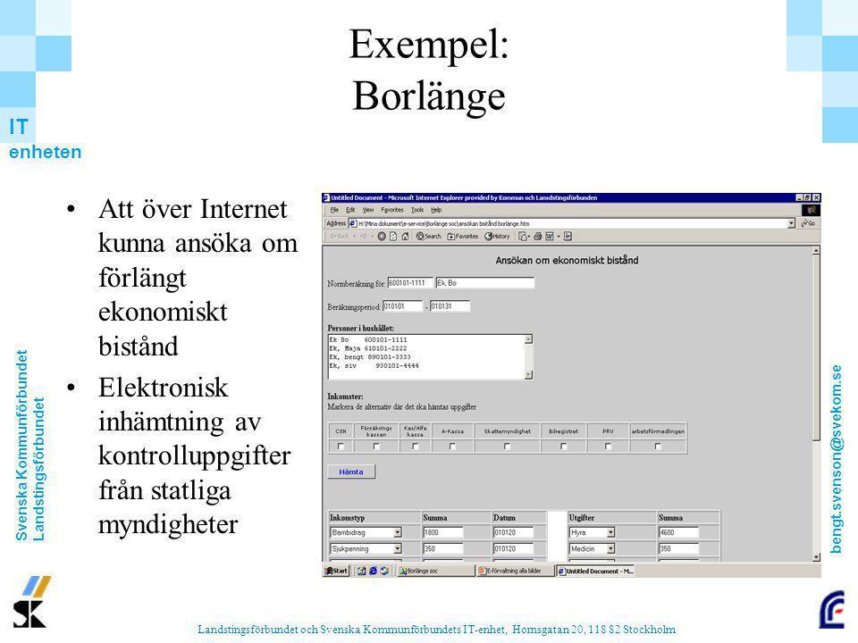 Exempel: Borlänge Att över Internet kunna ansöka om förlängt ekonomiskt bistånd.