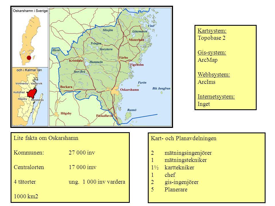 Kartsystem: Topobase 2. Gis-system: ArcMap. Webbsystem: ArcIms. Internetsystem: Inget. Lite fakta om Oskarshamn.