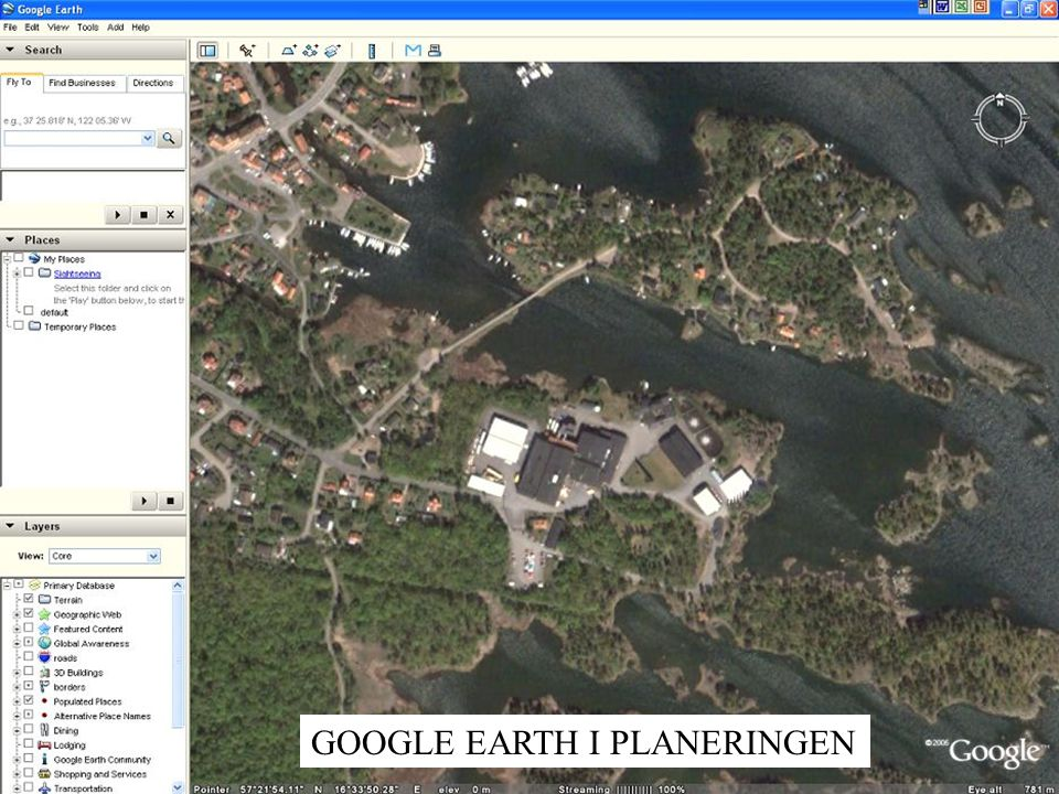 GOOGLE EARTH I PLANERINGEN