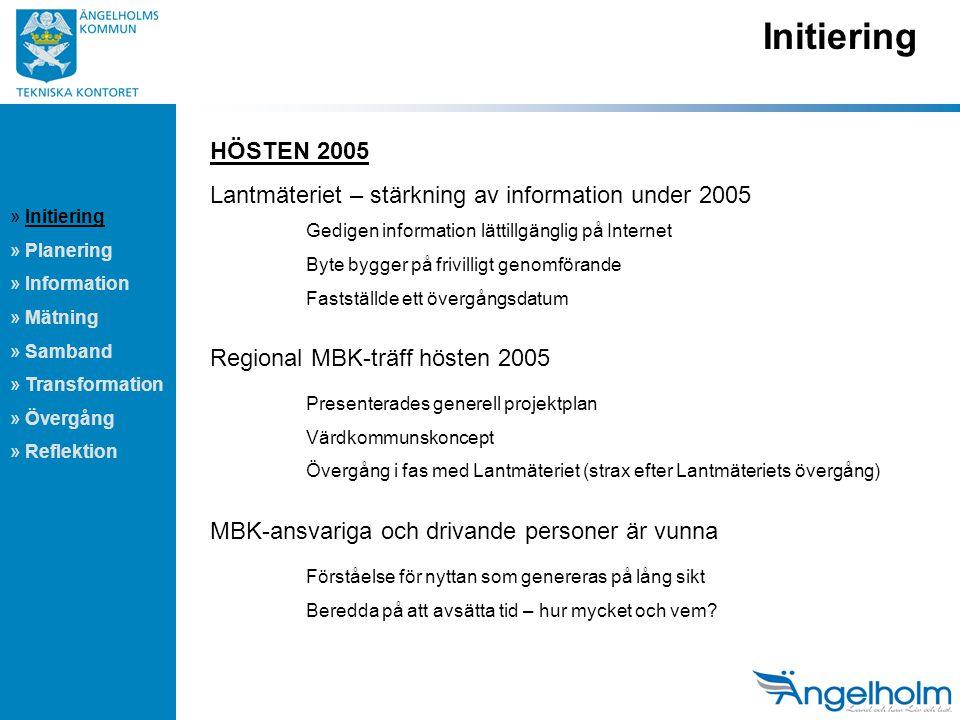 Initiering HÖSTEN 2005. Lantmäteriet – stärkning av information under 2005. Gedigen information lättillgänglig på Internet.