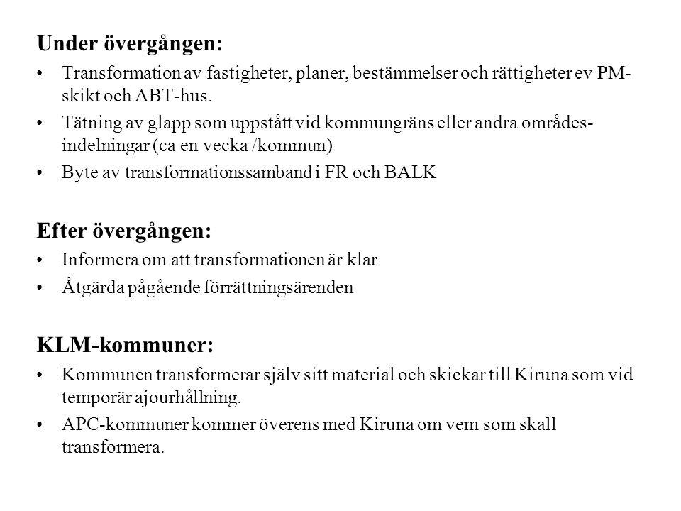 Under övergången: Efter övergången: KLM-kommuner: