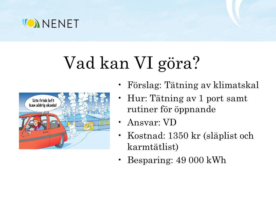 Vad kan VI göra Förslag: Tätning av klimatskal