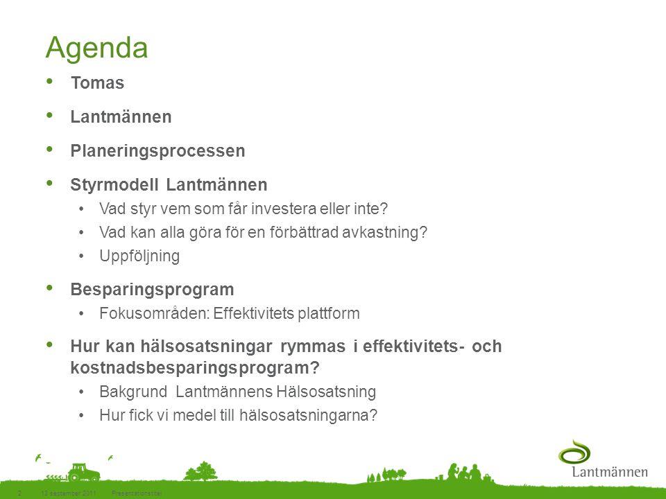 Agenda Tomas Lantmännen Planeringsprocessen Styrmodell Lantmännen