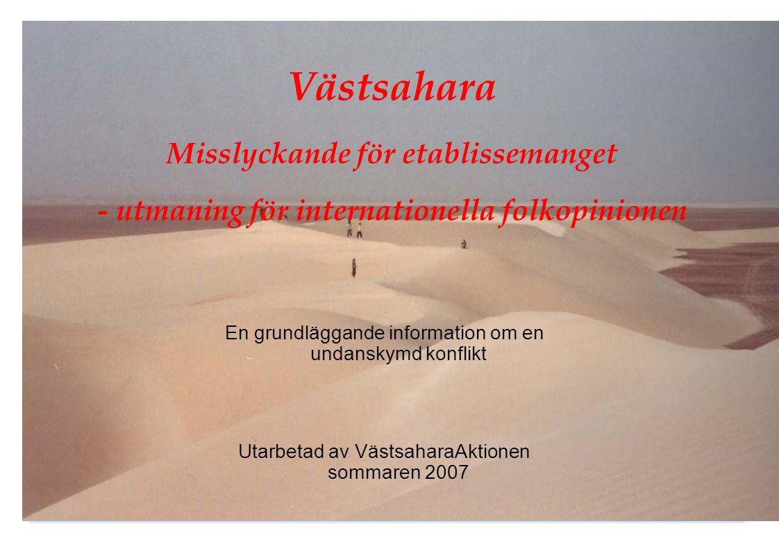 Västsahara Misslyckande för etablissemanget - utmaning för internationella folkopinionen