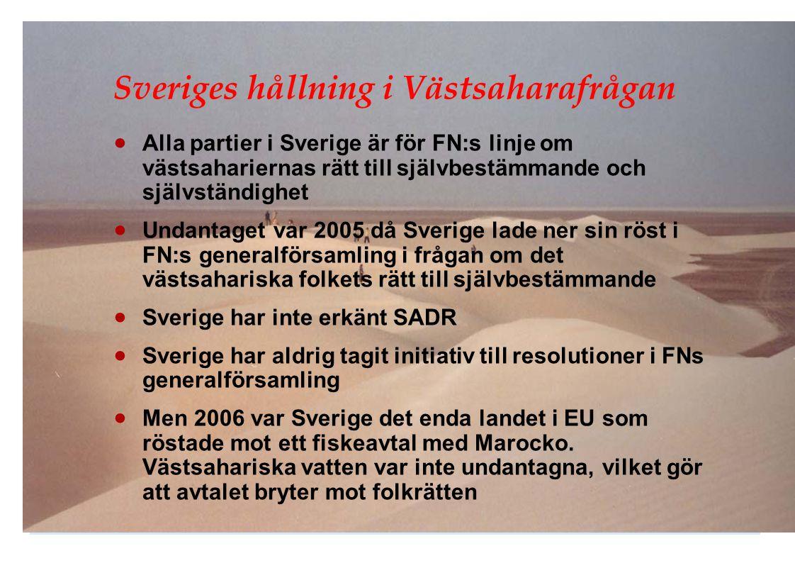 Sveriges hållning i Västsaharafrågan