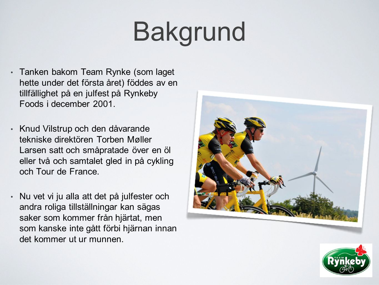 Bakgrund Tanken bakom Team Rynke (som laget hette under det första året) föddes av en tillfällighet på en julfest på Rynkeby Foods i december 2001.