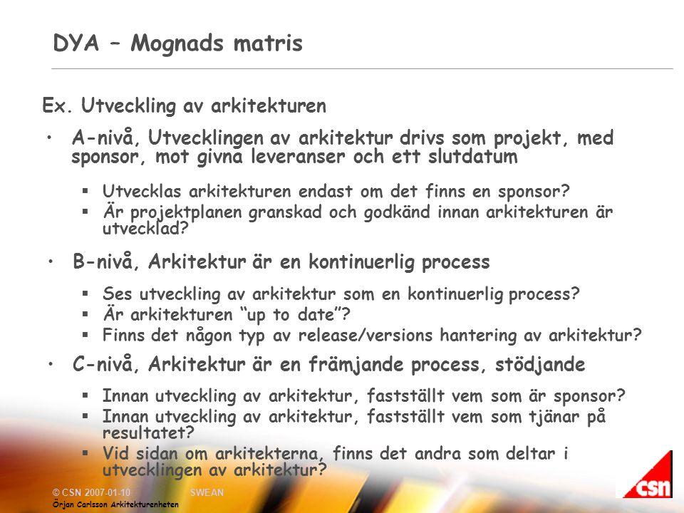 DYA – Mognads matris Ex. Utveckling av arkitekturen
