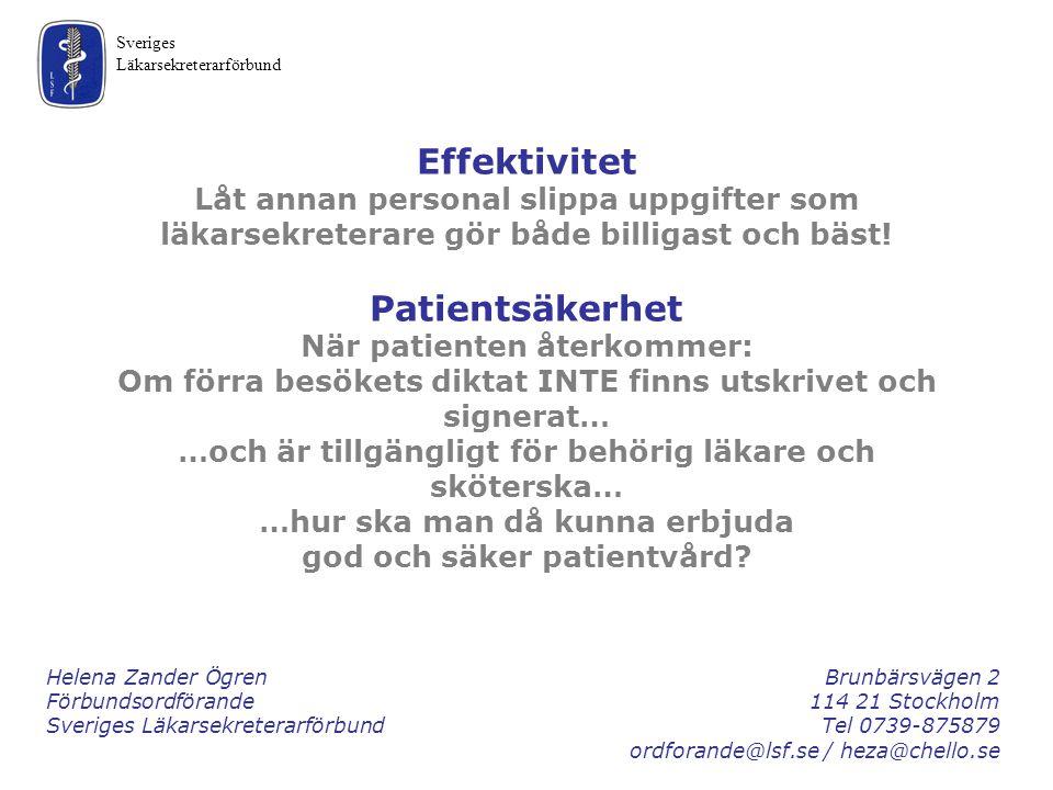 Effektivitet Patientsäkerhet