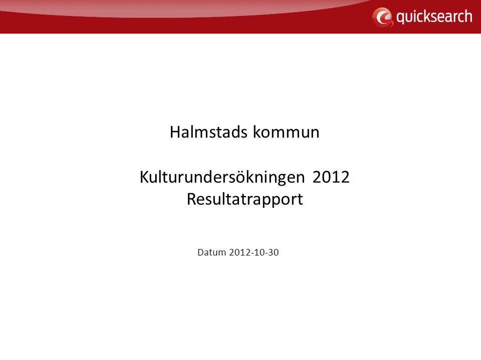 Halmstads kommun Kulturundersökningen 2012 Resultatrapport