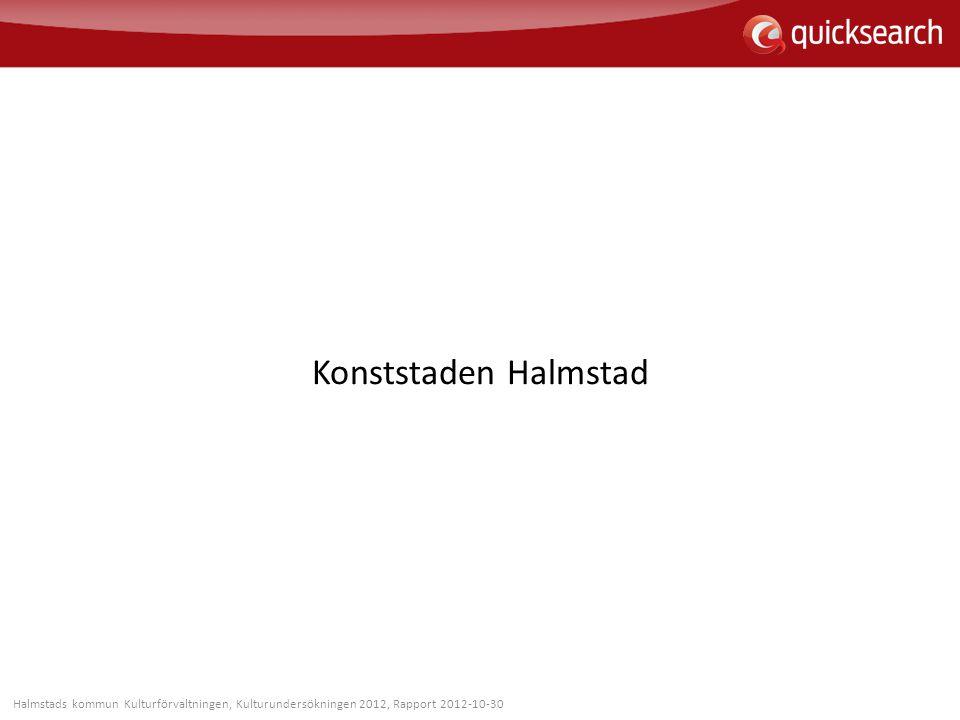 Konststaden Halmstad Halmstads kommun Kulturförvaltningen, Kulturundersökningen 2012, Rapport 2012-10-30.