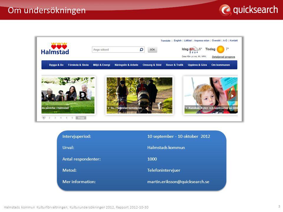 Om undersökningen Intervjuperiod: 10 september - 10 oktober 2012