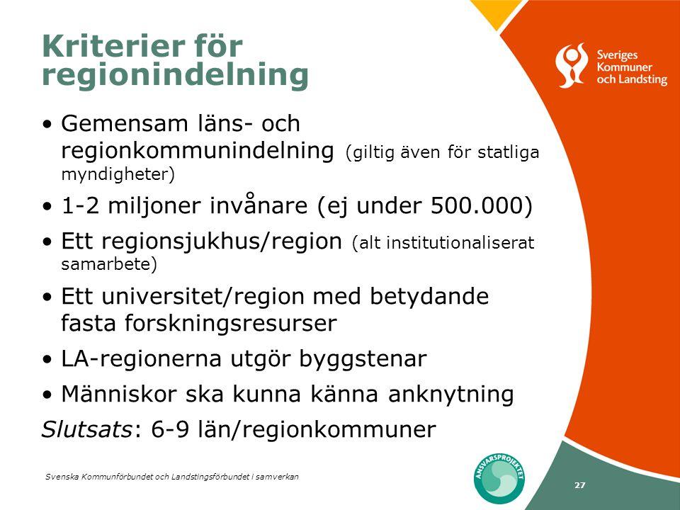 Kriterier för regionindelning