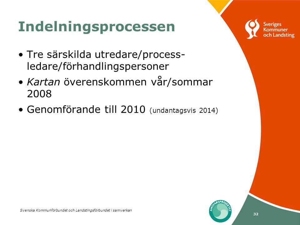 Indelningsprocessen Tre särskilda utredare/process-ledare/förhandlingspersoner. Kartan överenskommen vår/sommar 2008.