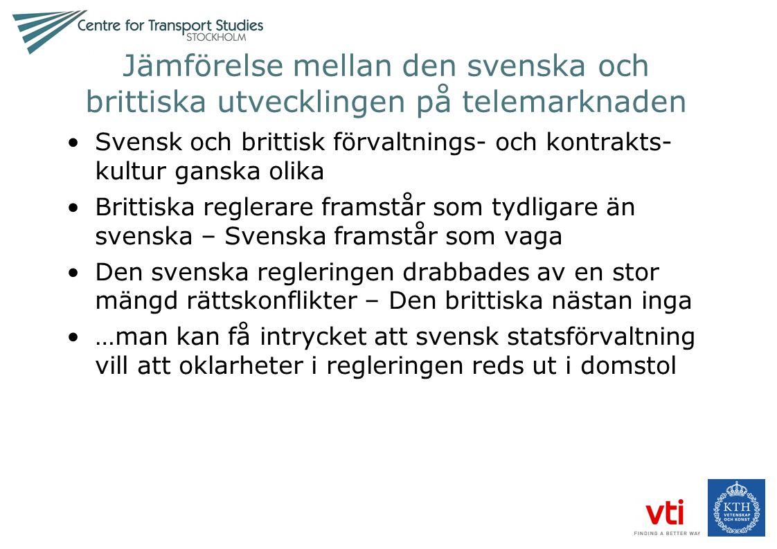Jämförelse mellan den svenska och brittiska utvecklingen på telemarknaden