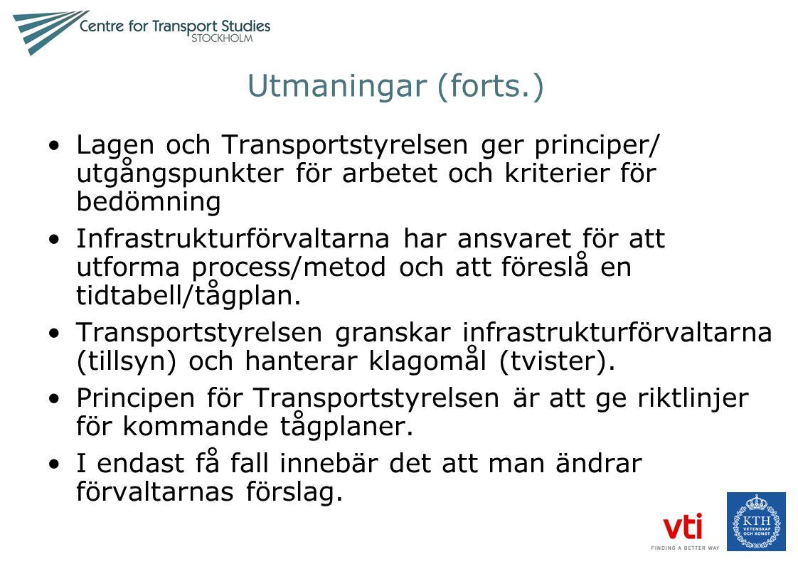 Utmaningar (forts.) Lagen och Transportstyrelsen ger principer/ utgångspunkter för arbetet och kriterier för bedömning.