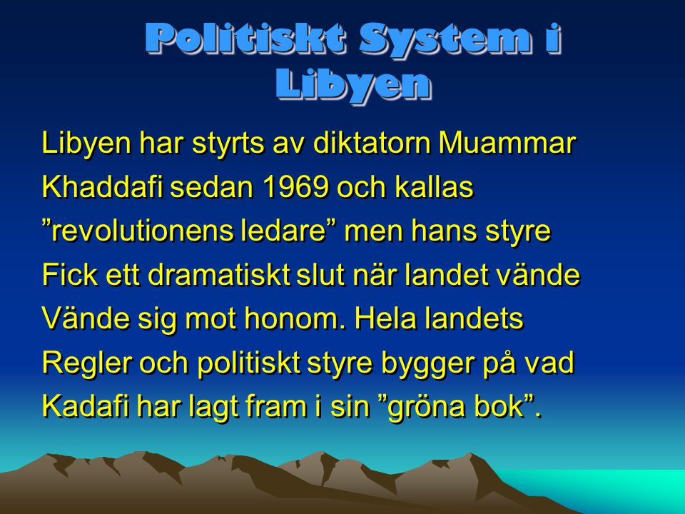 Politiskt System i Libyen
