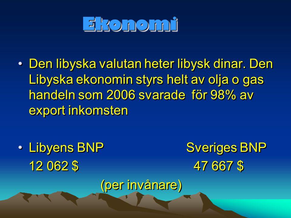 Ekonomi Den libyska valutan heter libysk dinar. Den Libyska ekonomin styrs helt av olja o gas handeln som 2006 svarade för 98% av export inkomsten.