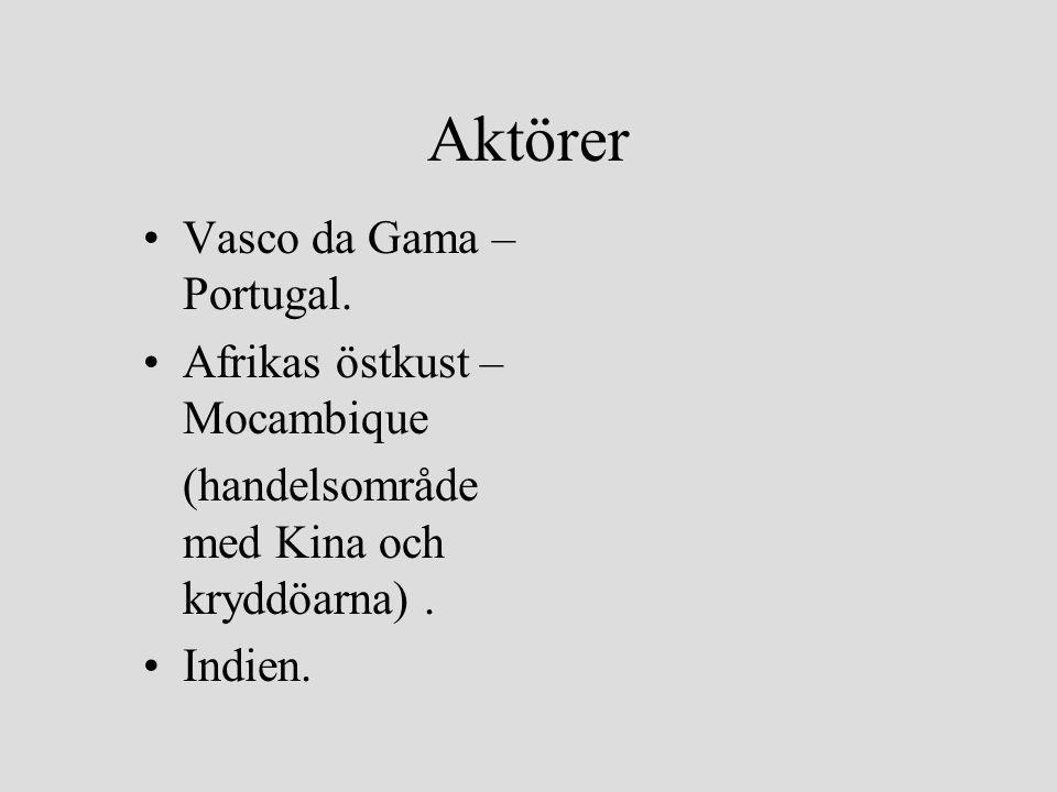 Aktörer Vasco da Gama – Portugal. Afrikas östkust – Mocambique