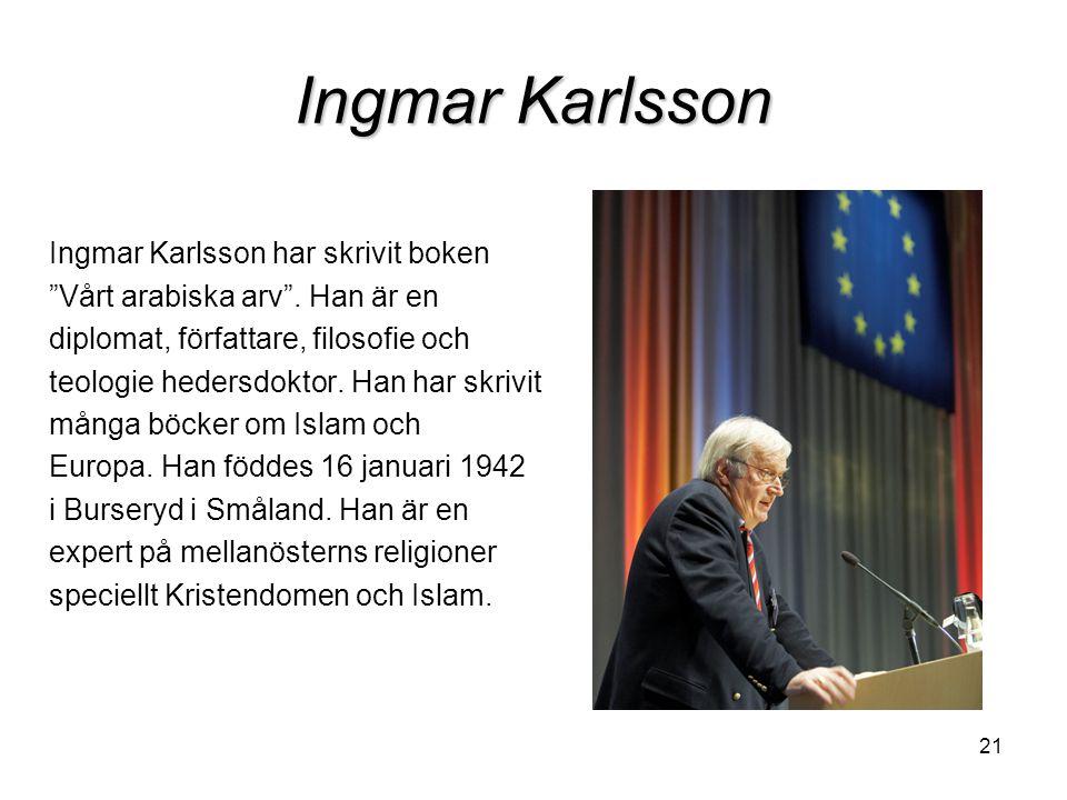 Ingmar Karlsson Ingmar Karlsson har skrivit boken