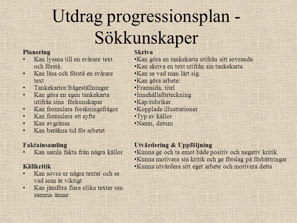 Utdrag progressionsplan - Sökkunskaper