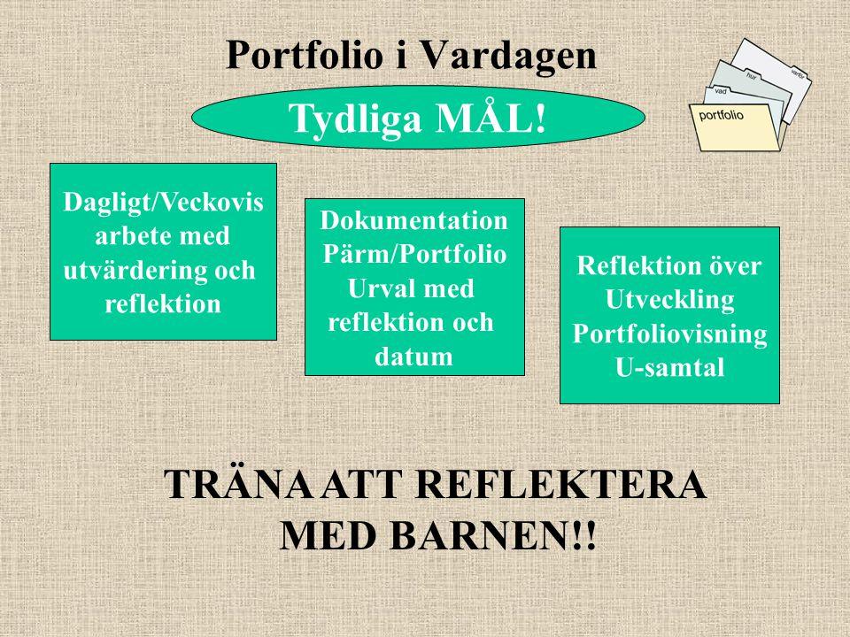 Portfolio i Vardagen Tydliga MÅL! TRÄNA ATT REFLEKTERA MED BARNEN!!