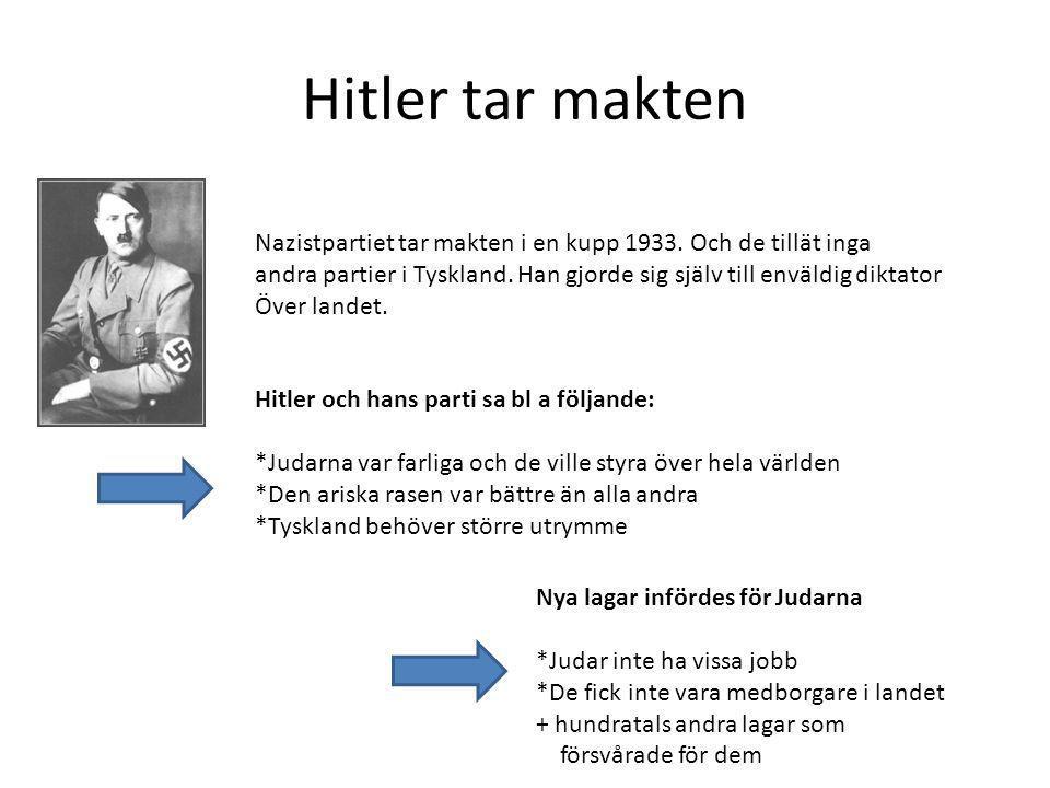Hitler tar makten Nazistpartiet tar makten i en kupp 1933. Och de tillät inga. andra partier i Tyskland. Han gjorde sig själv till enväldig diktator.