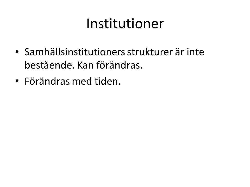 Institutioner Samhällsinstitutioners strukturer är inte bestående.