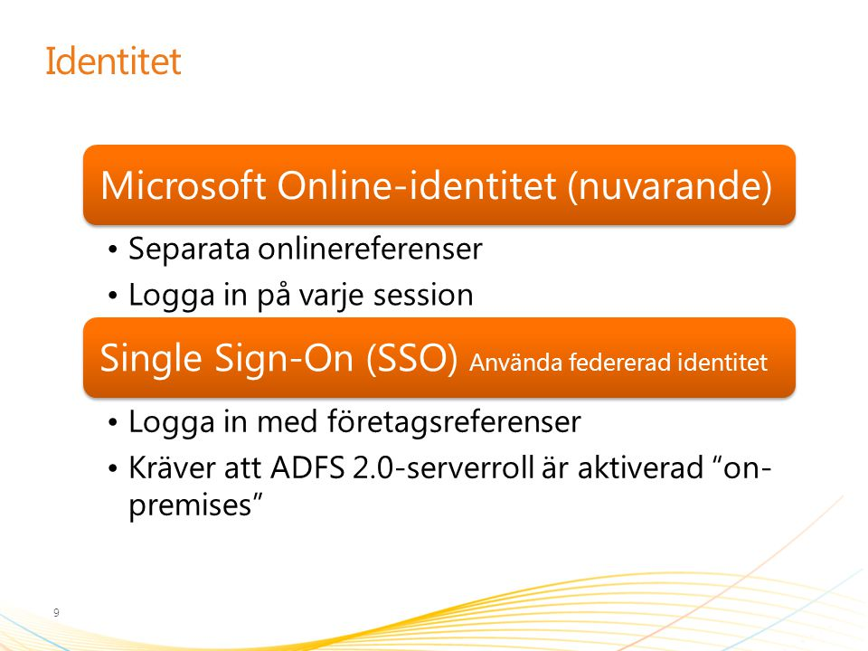 Single Sign-On (SSO) Använda federerad identitet