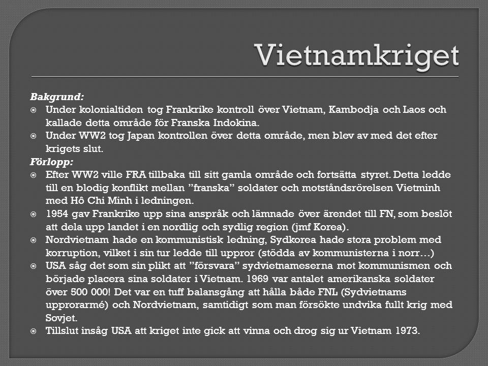 Vietnamkriget Bakgrund: