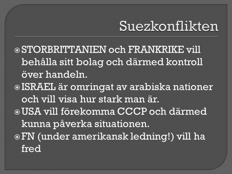 Suezkonflikten STORBRITTANIEN och FRANKRIKE vill behålla sitt bolag och därmed kontroll över handeln.