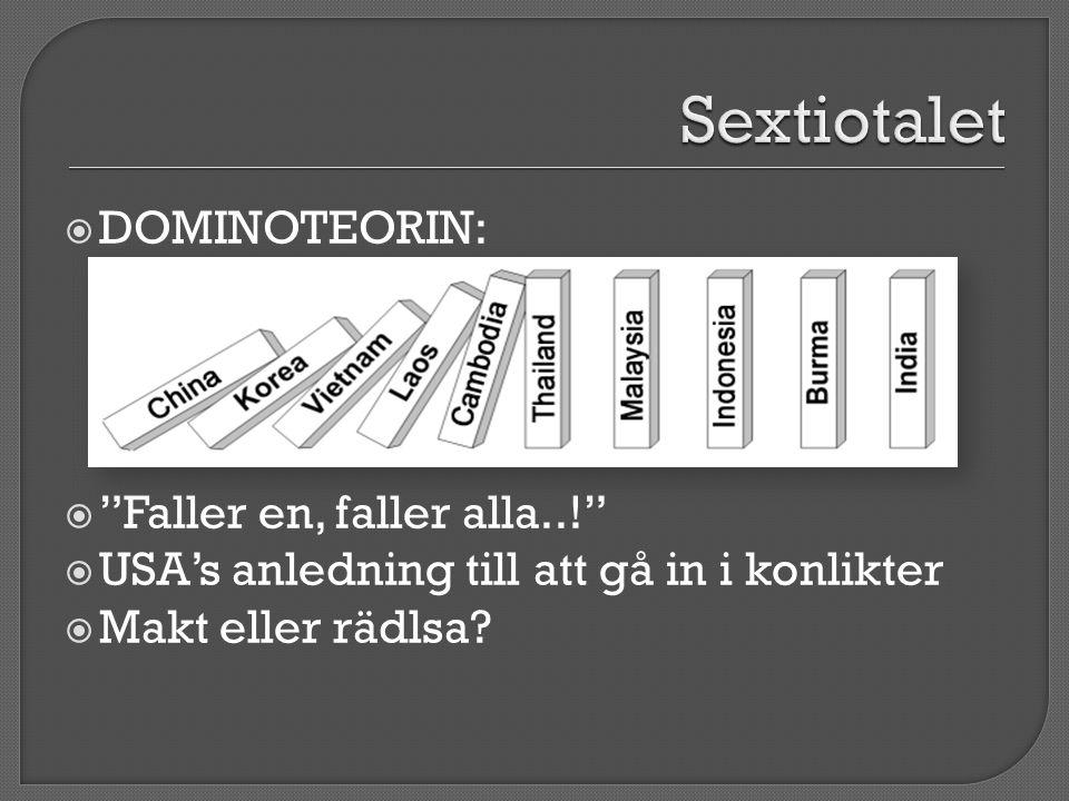 Sextiotalet DOMINOTEORIN: Faller en, faller alla..!