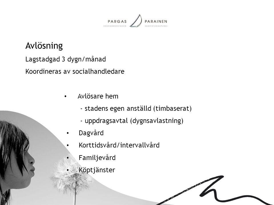 Avlösning Lagstadgad 3 dygn/månad Koordineras av socialhandledare