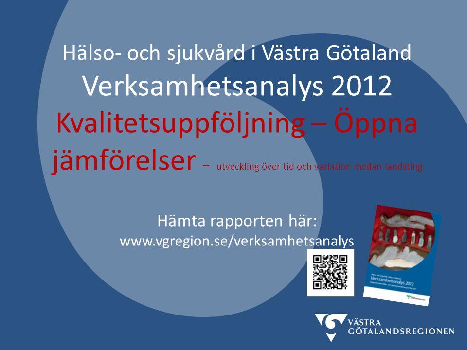 Hälso- och sjukvård i Västra Götaland Verksamhetsanalys 2012 Kvalitetsuppföljning – Öppna jämförelser – utveckling över tid och variation mellan landsting
