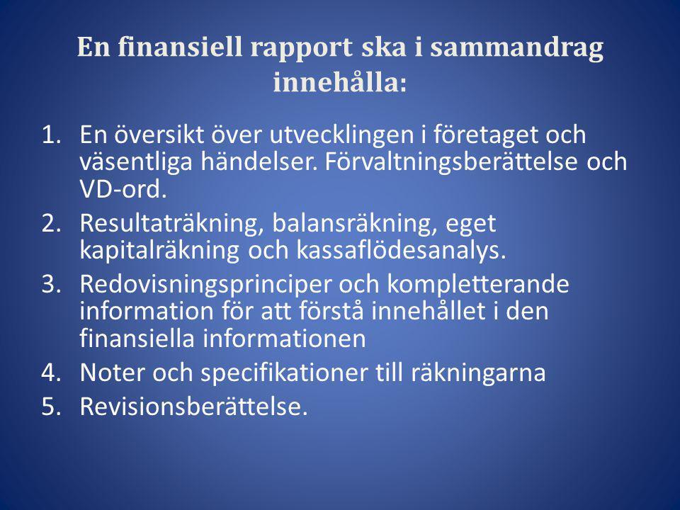 En finansiell rapport ska i sammandrag innehålla: