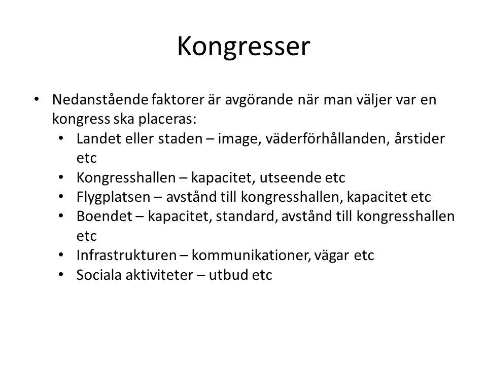 Kongresser Nedanstående faktorer är avgörande när man väljer var en kongress ska placeras: