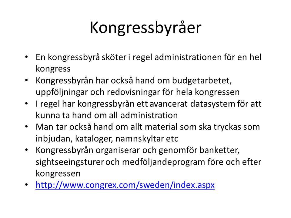 Kongressbyråer En kongressbyrå sköter i regel administrationen för en hel kongress.