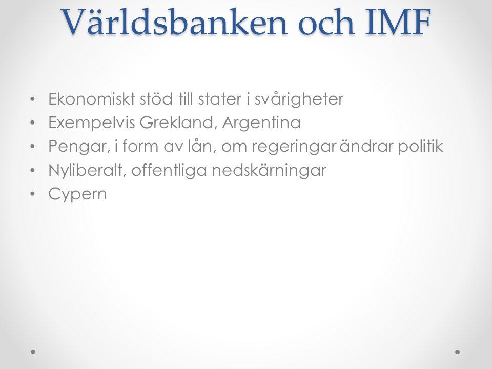 Världsbanken och IMF Ekonomiskt stöd till stater i svårigheter