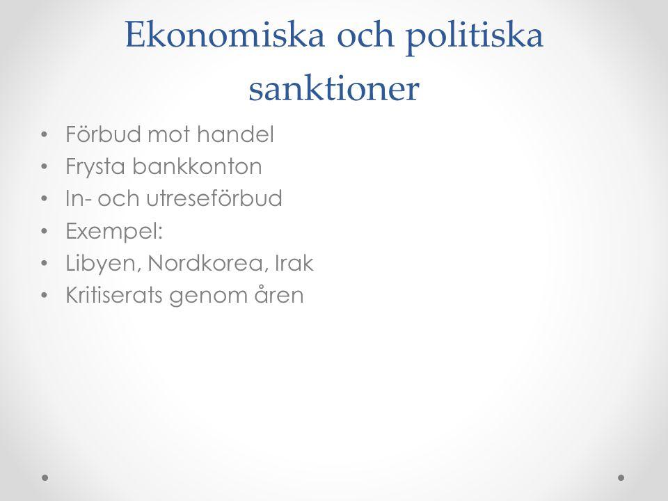 Ekonomiska och politiska sanktioner