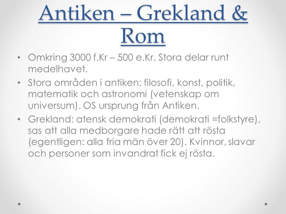 Antiken – Grekland & Rom