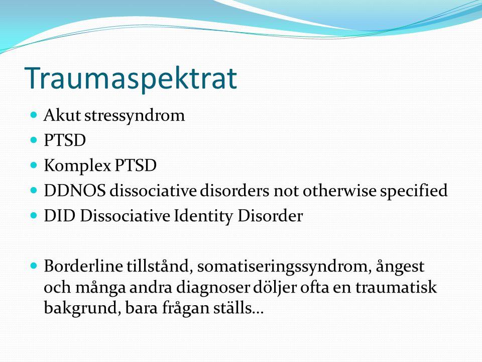 Traumaspektrat Akut stressyndrom PTSD Komplex PTSD