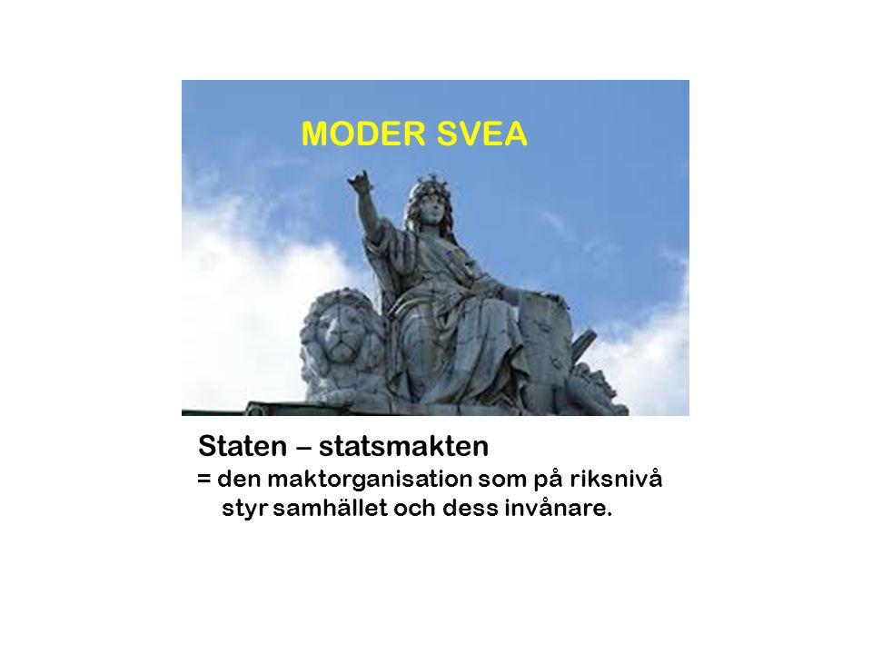MODER SVEA Staten – statsmakten = den maktorganisation som på riksnivå